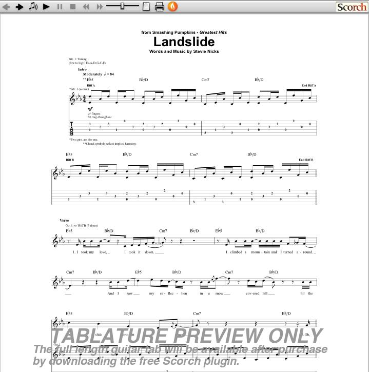 LANDSLIDE Chords - Fleetwood Mac   E-Chords