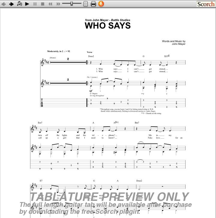 John Mayer Daughters Guitar Chords