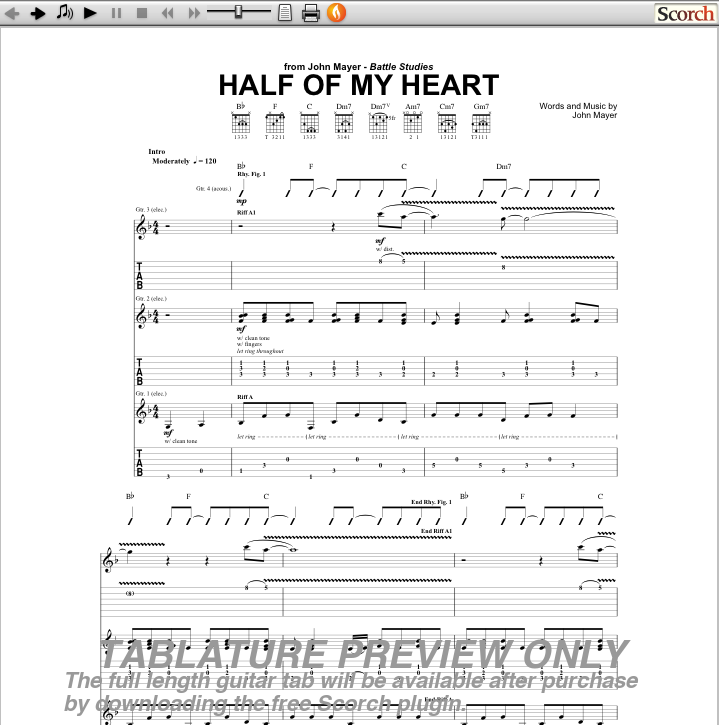 Half of my heart guitar chords