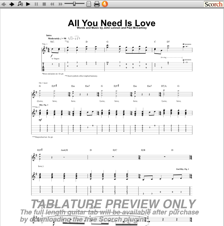 all you need is love chords