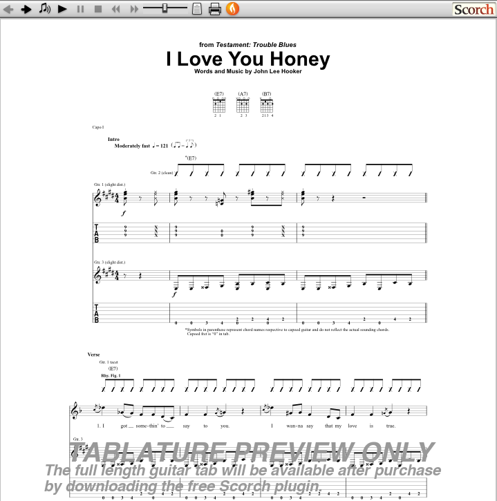 I Love You Honey Guitar Tab