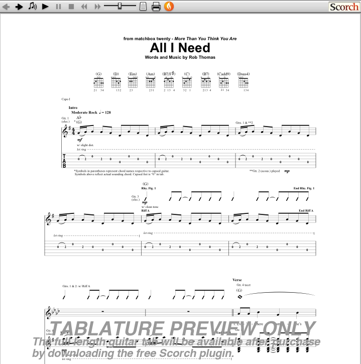 all i need guitar tab preview