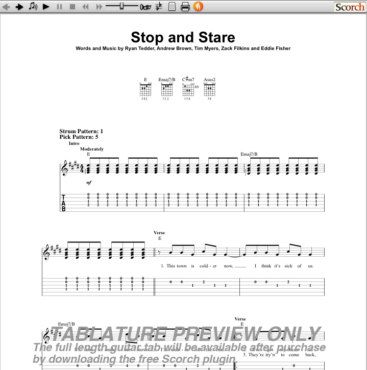 The First Blog Stop And Stare Chords
