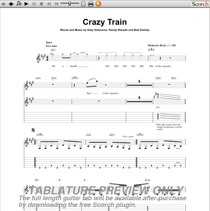 guitar tabs for crazy train image search results