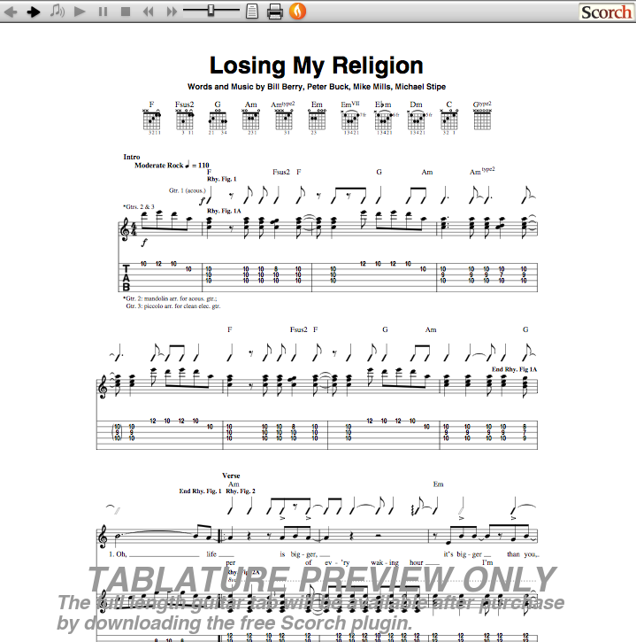 Mandolin Chords To Losing My Religion Music Sheets Chords