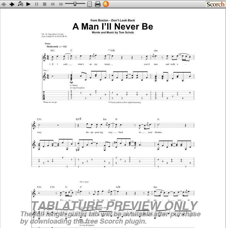 a man ill never be guitar tab